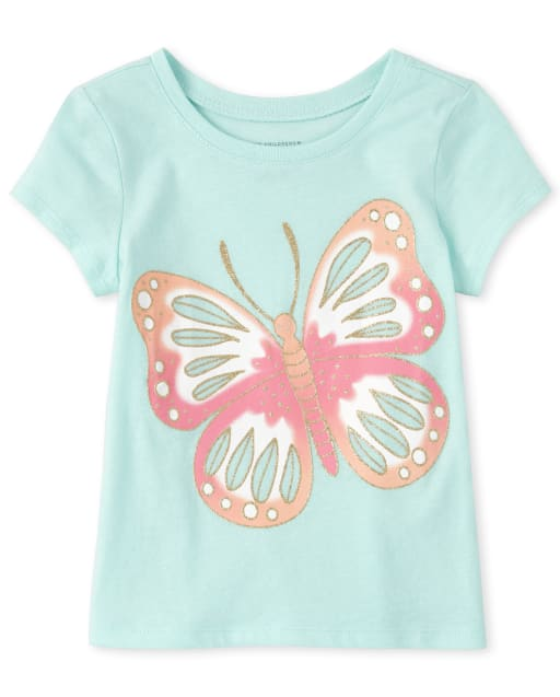 Baby And Toddler Girls CRAZY 8 Short Sleeve Glitter Butterfly Graphic Tee