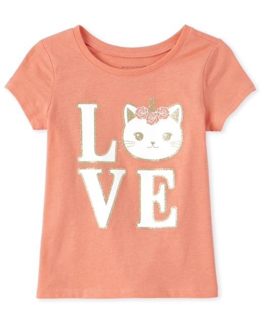 Baby And Toddler Girls Short Sleeve Glitter 'Love' Caticorn Graphic Tee