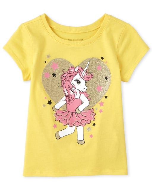 Baby And Toddler Girls Short Sleeve Glitter Unicorn Graphic Tee