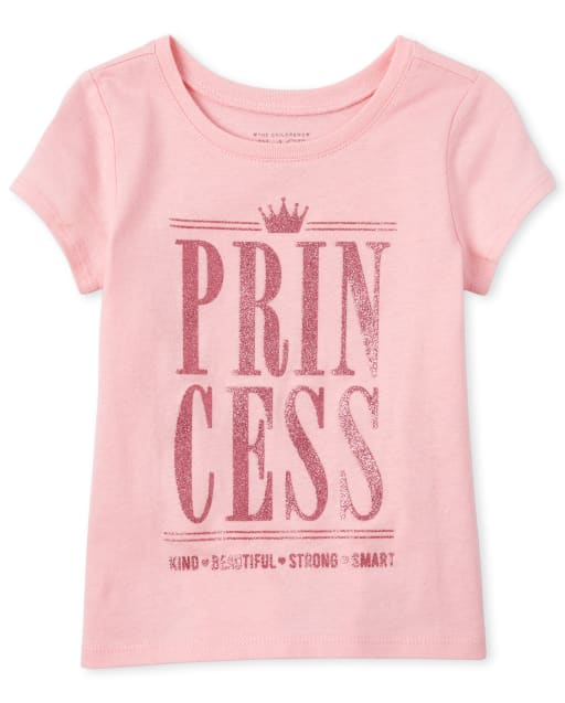 Baby And Toddler Girls Short Sleeve Glitter 'Princess King Beautiful Strong Smart' Matching Graphic Tee