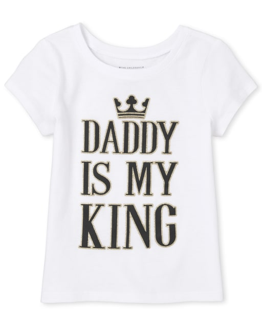 Baby And Toddler Girls Short Sleeve Glitter 'Daddy Is My King' Matching Graphic Tee
