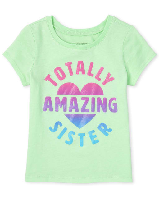 Baby And Toddler Girls Short Sleeve Glitter 'Totally Amazing And Adorable' Matching Graphic Tee