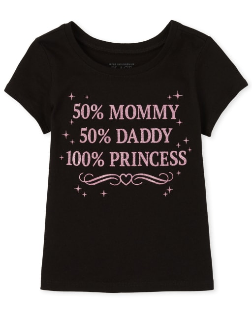 Baby And Toddler Girls Short Sleeve Glitter '50 Mommy 50 Daddy 100 Princess' Graphic Tee