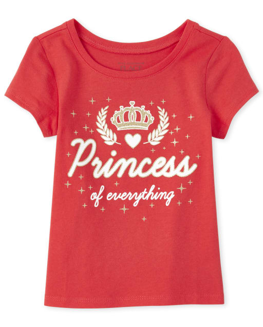 Baby And Toddler Girls Short Sleeve Glitter 'Princess Of Everything' Graphic Tee