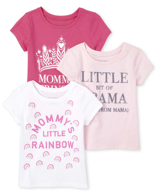 Baby And Toddler Girls Short Sleeve Glitter 'Mommy's Little Rainbow' Graphic Tee 3-Pack