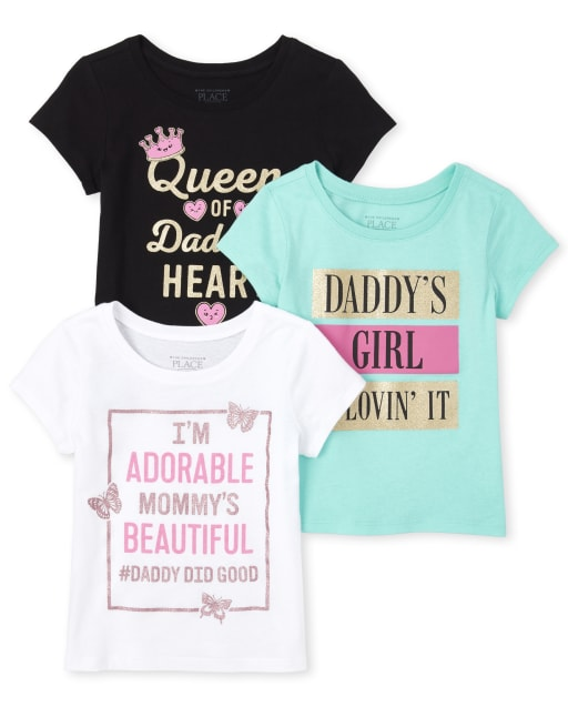 Baby And Toddler Girls Short Sleeve Glitter 'Queen Of Daddy's Heart' Graphic Tee 3-Pack