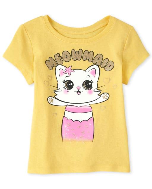 Baby And Toddler Girls Short Sleeve Glitter 'Meowmaid' Cat Mermaid Graphic Tee