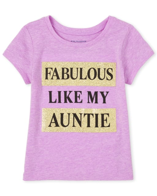 Baby And Toddler Girls Short Sleeve Glitter 'Fabulous Like My Auntie' Graphic Tee