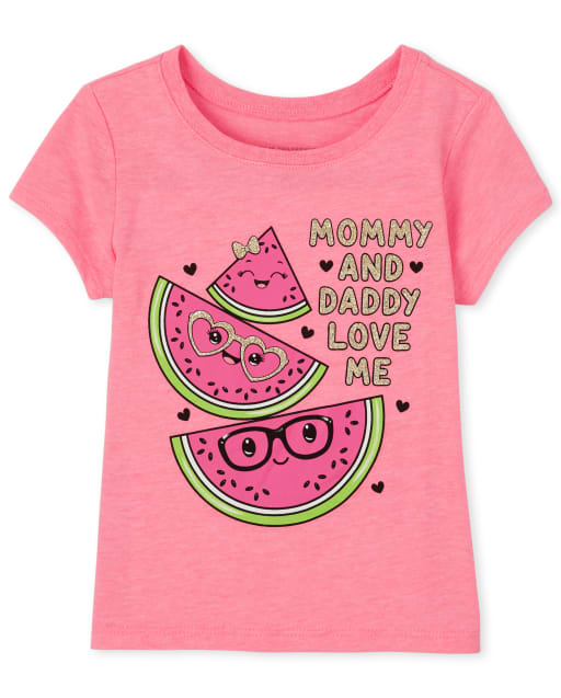 Baby And Toddler Girls Short Sleeve Glitter 'Mommy And Daddy Love Me' Watermelon Graphic Tee