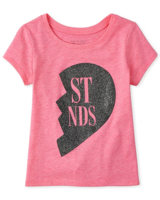 Baby And Toddler Girls Short Sleeve Glitter 'Best Friends' Matching Graphic Tee