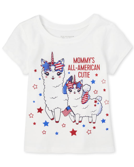 Baby And Toddler Girls Americana Short Sleeve Glitter 'Mommy's All American Cutie' Llamacorn Graphic Tee