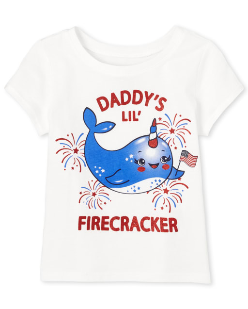Baby And Toddler Girls Americana Short Sleeve Glitter 'Daddy's Lil Firecracker' Narwhal Graphic Tee
