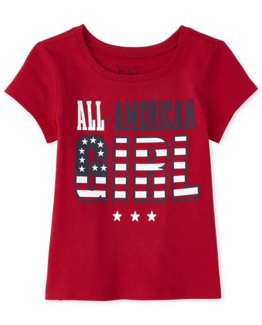 Baby And Toddler Girls Matching Family Americana Short Sleeve 'All American Girl' Graphic Tee