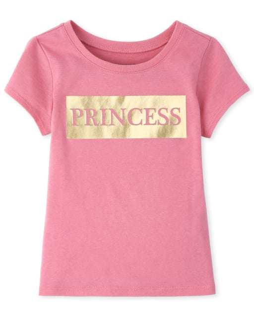 Baby And Toddler Girls Mommy And Me Short Sleeve Foil 'Princess' Matching Graphic Tee