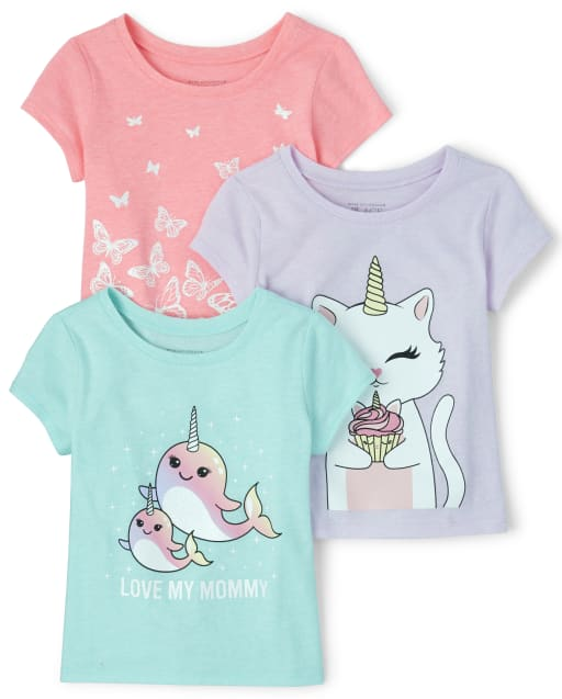 Baby And Toddler Girls Short Sleeve Mommy Animal Graphic Tee 3-Pack