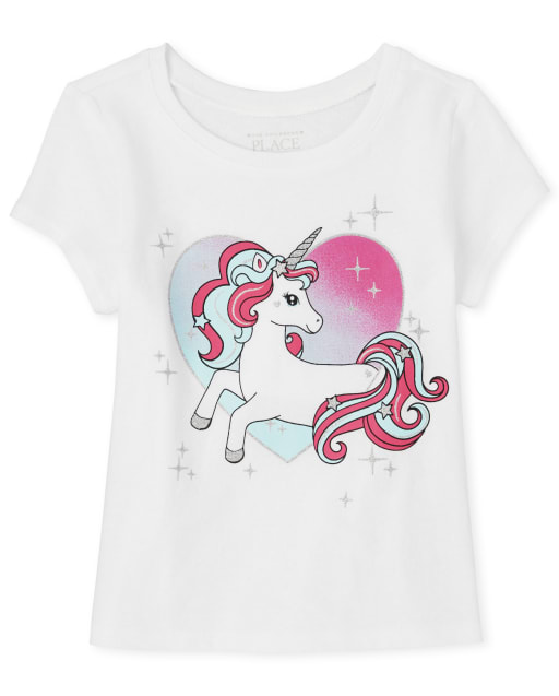 Baby And Toddler Girls Short Sleeve Glitter Unicorn Heart Graphic Tee