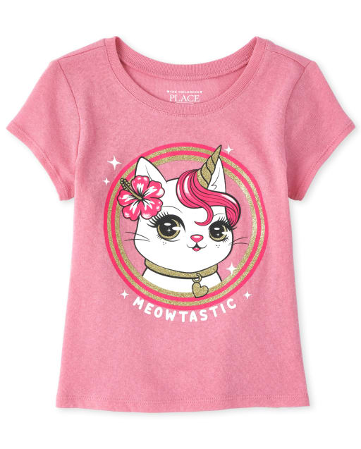 Baby And Toddler Girls Short Sleeve Glitter 'Meowtastic' Caticorn Graphic Tee