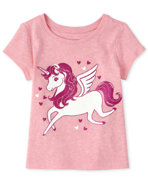 Baby And Toddler Girls Short Sleeve Glitter Pegasus Graphic Tee