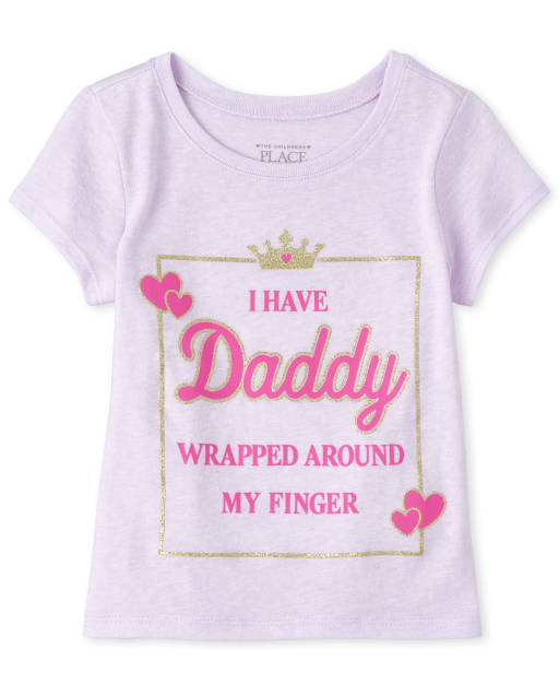 Baby And Toddler Girls Short Sleeve Glitter 'I Have Daddy Wrapped Around My Finger' Graphic Tee