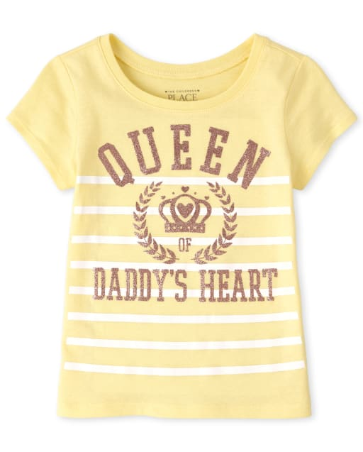 Baby & Toddler Girls Glitter Queen Of Daddy ' s Heart Graphic Tee