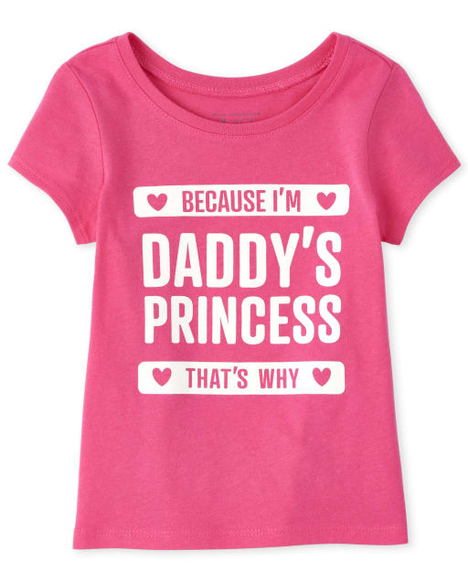 Baby And Toddler Girls Short Sleeve Glitter 'Daddy's Princess' Graphic Tee