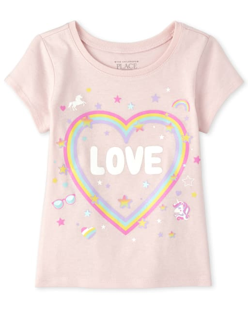 Baby And Toddler Girls Short Sleeve Glitter 'Loved' Rainbow Heart Graphic Tee