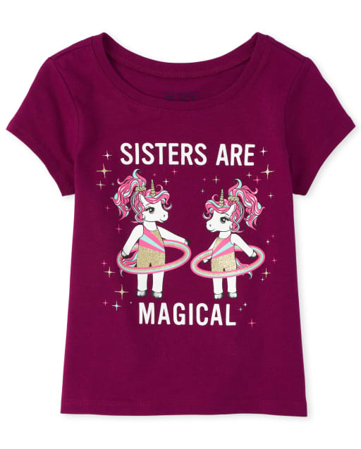 Baby And Toddler Girls Short Sleeve Glitter 'Sisters Are Magical' Unicorns Graphic Tee