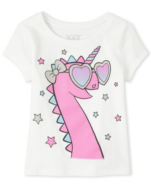 Baby And Toddler Girls Short Sleeve Glitter Dinocorn Graphic Tee