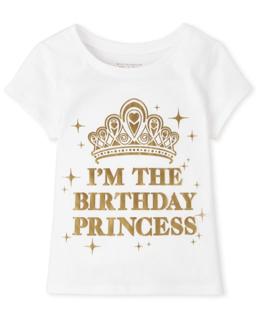 Baby And Toddler Girls Short Sleeve 'Birthday Princess' Graphic Tee