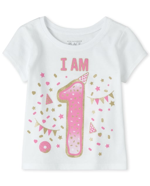 Baby And Toddler Girls Birthday Short Sleeve Glitter 'I Am 1' Graphic Tee