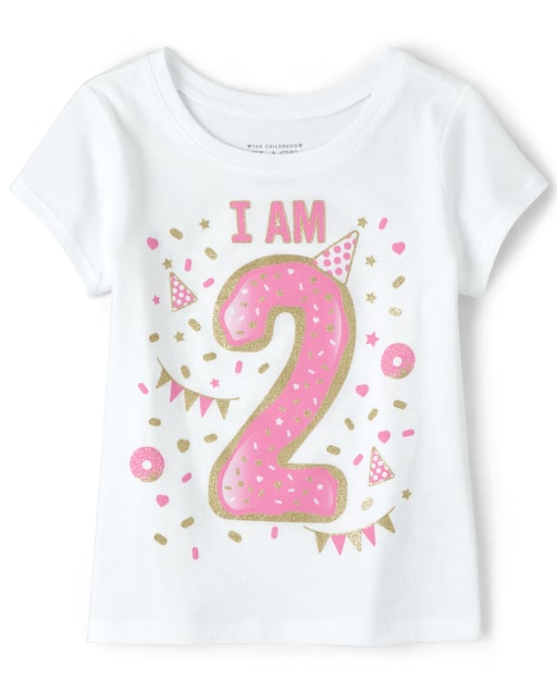 Baby And Toddler Girls Birthday Short Sleeve Glitter 'I Am 2' Graphic Tee