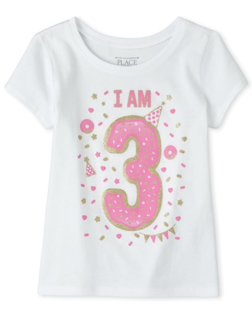 Baby And Toddler Girls Birthday Short Sleeve Glitter 'I Am 3' Graphic Tee