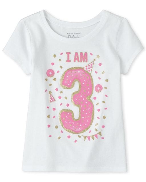 Baby And Toddler Girls Birthday Short Sleeve Glitter 'I Am 3' Graphic Tee