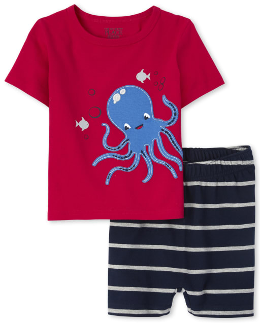 Baby And Toddler Boys Short Sleeve Octopus Graphic Top And Striped French Terry Knit Shorts Outfit Set