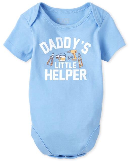 Baby Boys Short Sleeve 'Daddy's Little Helper' Graphic Bodysuit