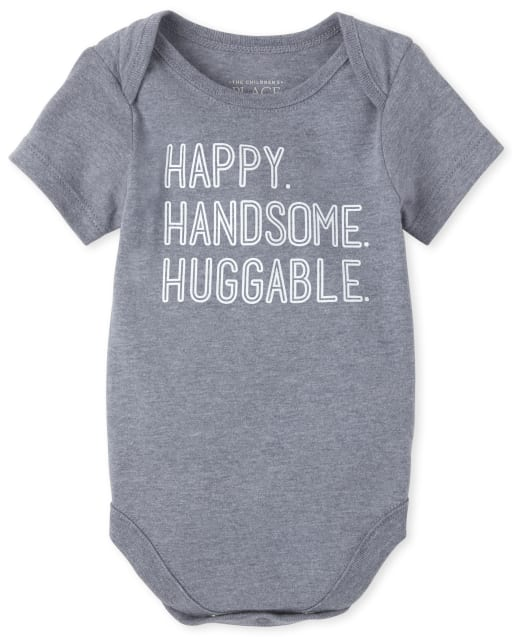 Baby Boys Short Sleeve 'Happy Handsome Huggable' Graphic Bodysuit