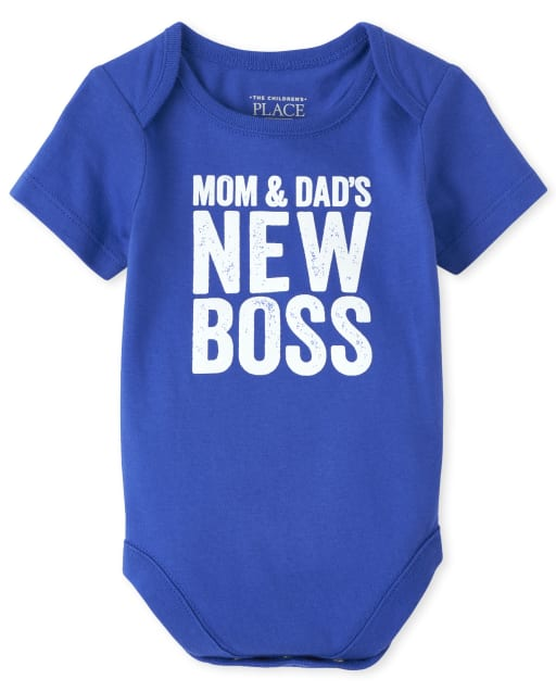 Baby Boys Short Sleeve 'Mom And Dad's New Boss' Graphic Bodysuit
