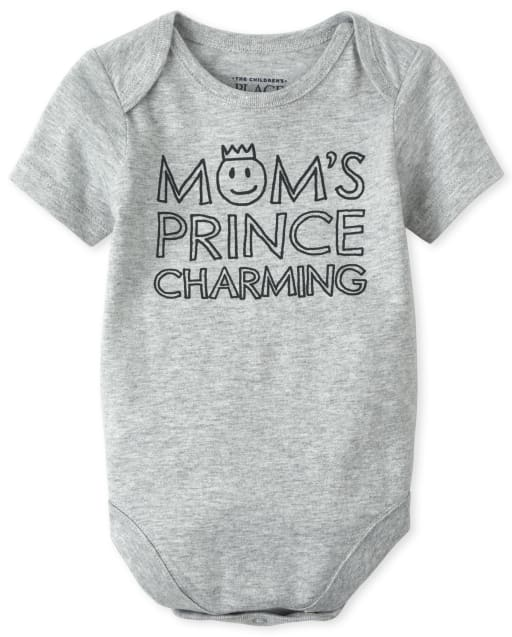 Baby Boys Short Sleeve 'Mom's Prince Charming' Graphic Tee