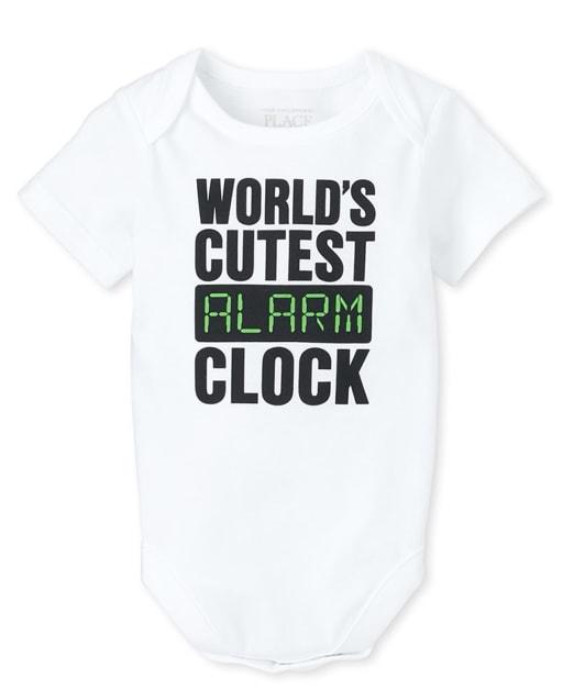 Unisex Baby Short Sleeve 'World's Cutest Alarm Clock' Graphic Bodysuit