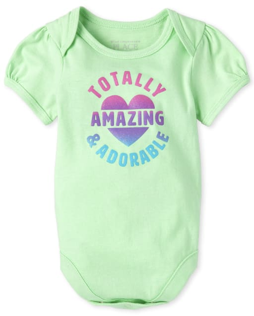 Baby Girls Short Sleeve Glitter 'Totally Amazing And Adorable' Matching Graphic Bodysuit
