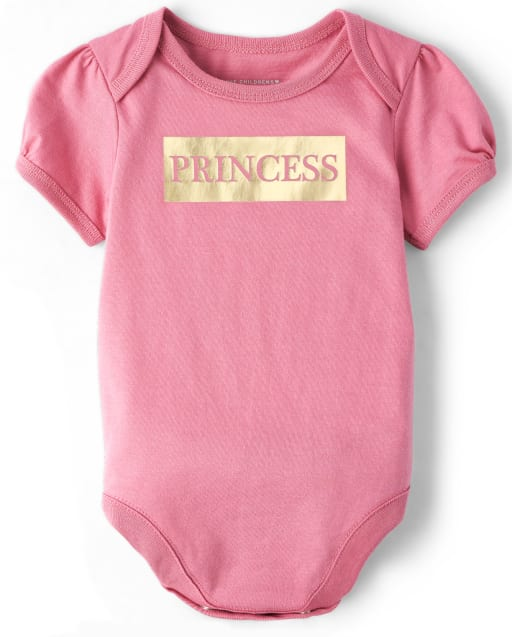 Baby Girls Mommy And Me Short Sleeve Foil 'Princess' Matching Graphic Bodysuit