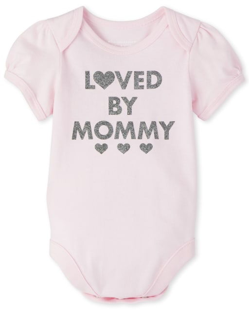 Baby Girls Short Sleeve Glitter 'Loved By Mommy' Graphic Bodysuit