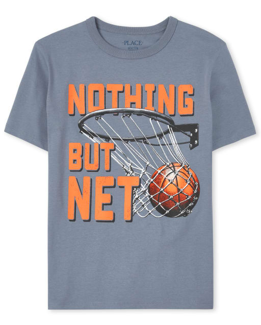 Boys Short Sleeve 'Nothing But Net' Basketball Graphic Tee