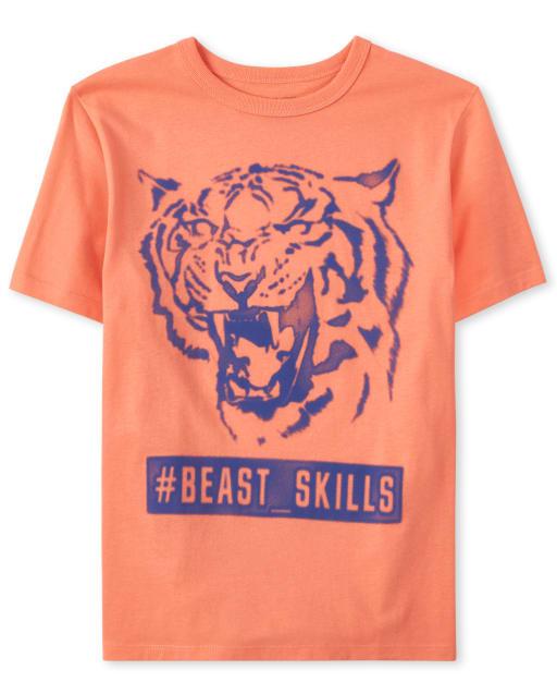 Boys Short Sleeve 'Hashtag Beast Skills' Tiger Graphic Tee
