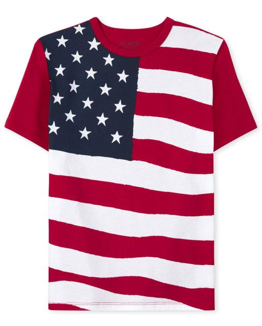 Boys Americana Short Sleeve Flag Matching Graphic Tee