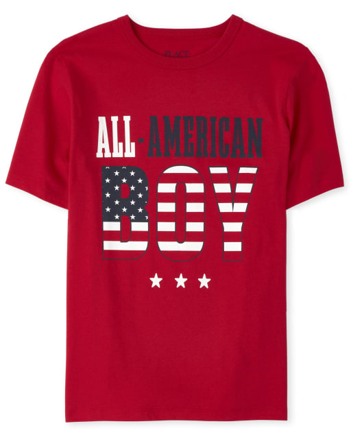 Boys Matching Family Americana Short Sleeve 'All American Boy' Flag Graphic Tee