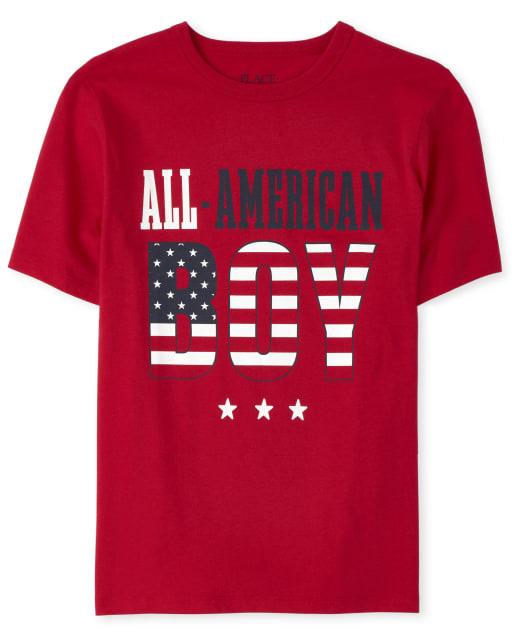 Camiseta estampada All American Family americana para niños