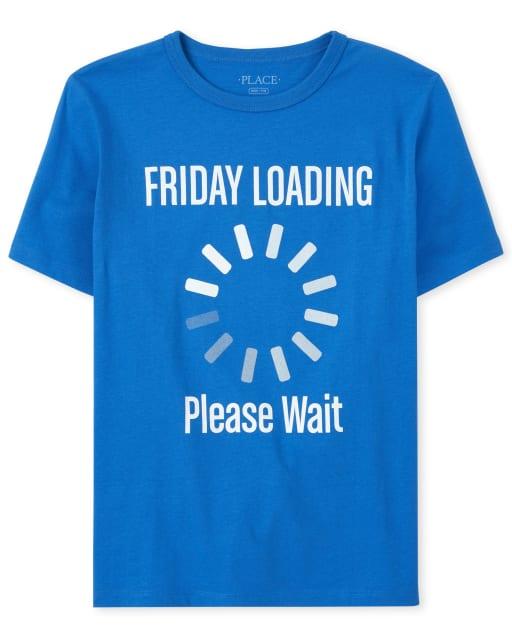 Boys Short Sleeve 'Friday Loading Please Wait' Graphic Tee