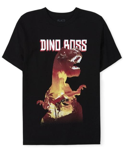 Camiseta estampada Dino Boss para niños