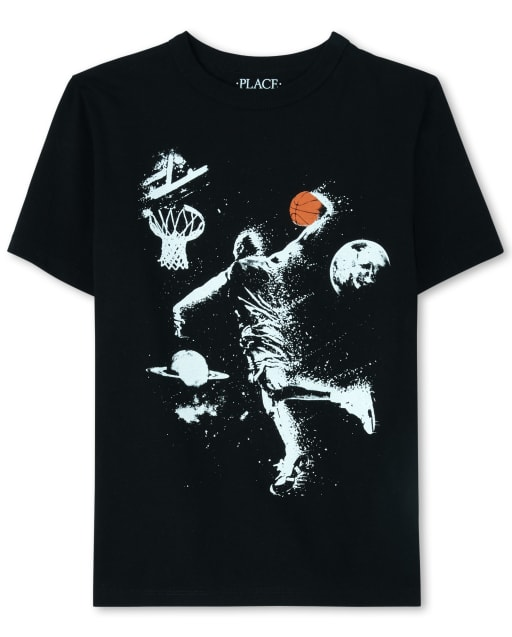 Boys Short Sleeve Space Basketball Graphic Tee